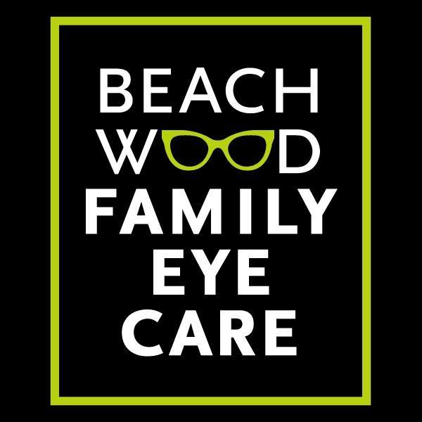 Beachwood Family Eye Care logo, where the Os in Beachwood are a pair of glasses