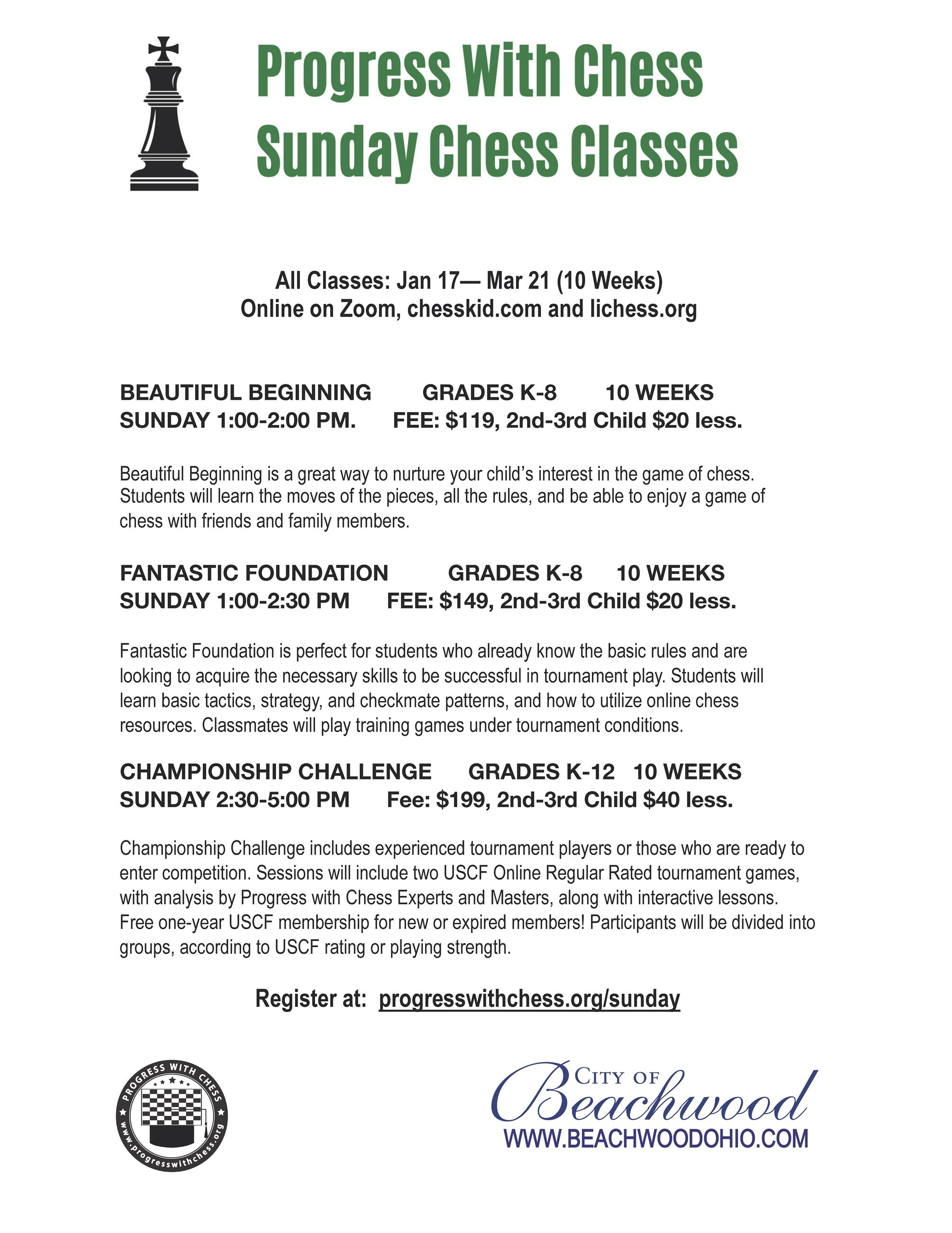 Online Winter Sunday Classes 2021