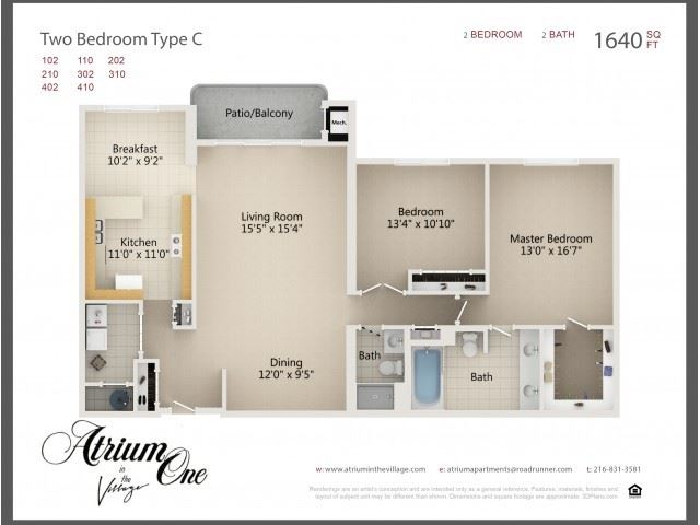 Floorplan of a two-bedroom apartment at Atrium One